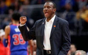 DETROIT, MI -  JANUARY 25:   Head coach Dwane Casey of the Detroit Pistons shouts to his team during the first half of a game against the Brooklyn Nets at Little Caesars Arena on January 25, 2020, in Detroit, Michigan.  The Nets defeated the Pistons 121-111. NOTE TO USER: User expressly acknowledges and agrees that, by downloading and or using this photograph, User is consenting to the terms and conditions of the Getty Images License Agreement. (Photo by Duane Burleson/Getty Images)