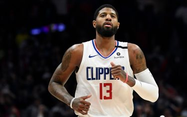 LOS ANGELES, CA - FEBRUARY 03: Paul George #13 of the Los Angeles Clippers celebrates after scoring the winning three point basket against the San Antonio Spurs at the end of the game at Staples Center on February 3, 2020 in Los Angeles, California. NOTE TO USER: User expressly acknowledges and agrees that, by downloading and/or using this Photograph, user is consenting to the terms and conditions of the Getty Images License Agreement. (Photo by Kevork Djansezian/Getty Images)