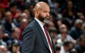 CLEVELAND, OH - MARCH 4: J.B. Bickerstaff of the Cleveland Cavaliers looks on during the game against the Boston Celtics on March 4, 2020 at Rocket Mortgage FieldHouse in Cleveland, Ohio. NOTE TO USER: User expressly acknowledges and agrees that, by downloading and/or using this Photograph, user is consenting to the terms and conditions of the Getty Images License Agreement. Mandatory Copyright Notice: Copyright 2020 NBAE (Photo by David Liam Kyle/NBAE via Getty Images)