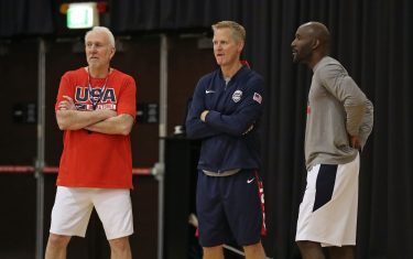 SYDNEY, AUSTRALIA - AUGUST 24: Head Coach Gregg Popovich and Assistant Coaches Steve Kerr and Lloyd Pierce look on during the 2019 USA Basketball Men's National Team Training Camp at Qudos Bank Arena on August 24, 2019 in Sydney, Australia. NOTE TO USER: User expressly acknowledges and agrees that, by downloading and/or using this photograph, user is consenting to the terms and conditions of the Getty Images License Agreement. Mandatory Copyright Notice: Copyright 2019 NBAE (Photo by Nathaniel S. Butler/NBAE via Getty Images)