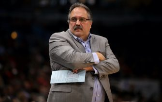 CHICAGO, IL - APRIL 11:  Head coach Stan Van Gundy of the Detroit Pistons reacts in the first quarter against the Chicago Bulls at the United Center on April 11, 2018 in Chicago, Illinois. NOTE TO USER: User expressly acknowledges and agrees that, by downloading and or using this photograph, User is consenting to the terms and conditions of the Getty Images License Agreement. (Dylan Buell/Getty Images) *** Local Caption *** Stan Van Gundy