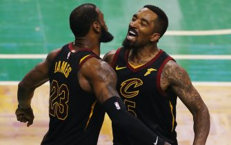 during Game Seven of the 2018 NBA Eastern Conference Finals at TD Garden on May 27, 2018 in Boston, Massachusetts. NOTE TO USER: User expressly acknowledges and agrees that, by downloading and or using this photograph, User is consenting to the terms and conditions of the Getty Images License Agreement.