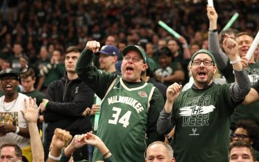 MILWAUKEE, WI - MAY 17: Milwaukee Bucks fans react during a game between the Toronto Raptors and the Milwaukee Bucks during Game Two of the Eastern Conference Finals on May 17, 2019 at the Fiserv Forum in Milwaukee, Wisconsin. NOTE TO USER: User expressly acknowledges and agrees that, by downloading and/or using this photograph, user is consenting to the terms and conditions of the Getty Images License Agreement. Mandatory Copyright Notice: Copyright 2019 NBAE (Photo by Mike Roemer/NBAE via Getty Images)