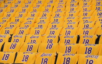LOS ANGELES, CA - APRIL 4:  T shirts are placed on fans chairs prior to the game between the Golden State Warriors and Los Angeles Lakers on April 4, 2019 at STAPLES Center in Los Angeles, California. NOTE TO USER: User expressly acknowledges and agrees that, by downloading and/or using this Photograph, user is consenting to the terms and conditions of the Getty Images License Agreement. Mandatory Copyright Notice: Copyright 2019 NBAE (Photo by Andrew D. Bernstein/NBAE via Getty Images)