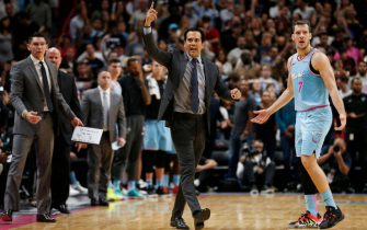MIAMI, FLORIDA - DECEMBER 28:  Head coach Erik Spoelstra of the Miami Heat asks for a challenge against the Philadelphia 76ers during the second half at American Airlines Arena on December 28, 2019 in Miami, Florida. NOTE TO USER: User expressly acknowledges and agrees that, by downloading and/or using this photograph, user is consenting to the terms and conditions of the Getty Images License Agreement. (Photo by Michael Reaves/Getty Images)