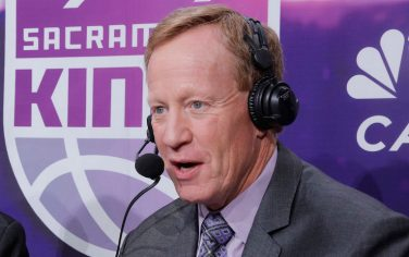SACRAMENTO, CA - APRIL 11: Sacramento Kings TV analyst Jerry Reynolds and announcer Grant Napear during the game against the Houston Rockets on April 11, 2018 at Golden 1 Center in Sacramento, California. NOTE TO USER: User expressly acknowledges and agrees that, by downloading and or using this photograph, User is consenting to the terms and conditions of the Getty Images Agreement. Mandatory Copyright Notice: Copyright 2018 NBAE (Photo by Rocky Widner/NBAE via Getty Images)