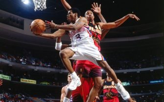 PHILADELPHIA - 1997:  Allen Iverson #3 of the Philadelphia  76ers shoots a layup during a game against the Atlanta Hawks in 1997 at the First Union Center in Philadelphia, Pennsylvania.  NOTE TO USER: User expressly acknowledges and agrees that, by downloading and or using this photograph, User is consenting to the terms and conditions of the Getty Images License Agreement.  Mandatory Copyright Notice:  Copyright 1997 NBAE (Photo by Lou Capozzola/NBAE via Getty Images)