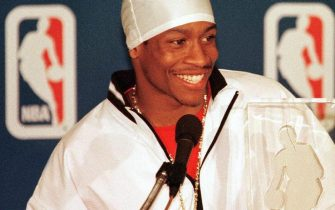 PHILADELPHIA, :  Philadelphia 76ers guard Allen Iverson answers a reporter's question during a press conference after he was named the National Basketball Association's Rookie of the Year 01 May. Iverson is the first Philadelphia 76ers player to win the award. (Photo credit should read TOM MIHALEK/AFP via Getty Images)