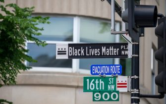 "WASHINGTON, DC - JUNE 05: After seven days of protests in DC over the death of George Floyd, DC Mayor Muriel Bowser has renamed that section of 16th street ""Black Lives Matter Plaza"" on June 05, 2020 in Washington, DC.. (Photo by Tasos Katopodis/Getty Images)"