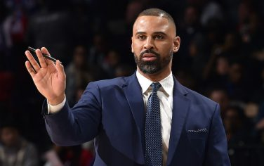 PHILADELPHIA, PA - FEBRUARY 27: Assistant Coach Ime Udoka of the Philadelphia 76ers looks on during the game against the New York Knicks on February 27, 2020 at the Wells Fargo Center in Philadelphia, Pennsylvania NOTE TO USER: User expressly acknowledges and agrees that, by downloading and/or using this Photograph, user is consenting to the terms and conditions of the Getty Images License Agreement. Mandatory Copyright Notice: Copyright 2020 NBAE (Photo by David Dow/NBAE via Getty Images)
