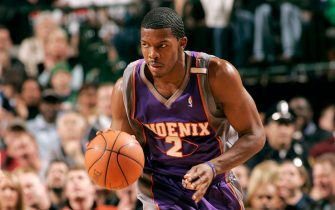 DALLAS - FEBRUARY 26:  Joe Johnson #2 of the Phoenix Suns drives against the Dallas Mavericks during the game at American Airlines Arena on February 26, 2005 in Dallas, Texas.  The Suns won 124-123.  NOTE TO USER: User expressly acknowledges and agrees that, by downloading and/or using this Photograph, user is consenting to the terms and conditions of the Getty Images License Agreement. Mandatory Copyright Notice: Copyright 2005 NBAE  (Photo by Glenn James/NBAE via Getty Images) *** Local Caption *** Joe Johnson