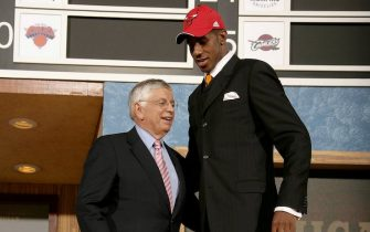 NEW YORK - JUNE 28: LaMarcus Aldridge shakes hands with NBA Commissioner David Stern after being selected by the Chicago Bulls second overall in the 2006 NBA Draft on June 28, 2006 at The Theater at Madison Square Garden in New York City.  NOTE TO USER: User expressly acknowledges and agrees that, by downloading and or using this photograph, User is consenting to the terms and conditions of the Getty Images License Agreement.  Mandatory Copyright Notice: Copyright NBAE 2006  (Photo by Nathaniel S. Butler/NBAE via Getty Images)