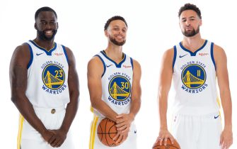 SAN FRANCISCO, CA - SEPTEMBER 30: Stephen Curry #30, Draymond Green #23, Klay Thompson #11, and D'Angelo Russell #0 of the Golden State Warriors pose for a portrait during media day on September 30, 2019 at the Biofreeze Performance Center in San Francisco, California. NOTE TO USER: User expressly acknowledges and agrees that, by downloading and/or using this photograph, user is consenting to the terms and conditions of the Getty Images License Agreement. Mandatory Copyright Notice: Copyright 2019 NBAE (Photo by Noah Graham/NBAE via Getty Images)