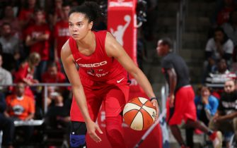 WASHINGTON, DC -  OCTOBER 10: Kristi Toliver #20 of the Washington Mystics handles the ball against the Connecticut Sun during Game Five of the 2019 WNBA Finals on October 10, 2019 at St Elizabeths East Entertainment & Sports Arena in Washington, DC. NOTE TO USER: User expressly acknowledges and agrees that, by downloading and or using this Photograph, user is consenting to the terms and conditions of the Getty Images License Agreement. Mandatory Copyright Notice: Copyright 2019 NBAE (Photo by Ned Dishman/NBAE via Getty Images)