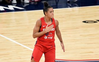 against the in Game 5 of the 2019 WNBA Finals at St Elizabeths East Entertainment & Sports Arena on October 10, 2019 in Washington, DC.