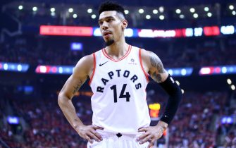 TORONTO, ON - APRIL 13:  Danny Green #14 of the Toronto Raptors looks on during Game One of the first round of the 2019 NBA playoffs against the Orlando Magic at Scotiabank Arena on April 13, 2019 in Toronto, Canada.  NOTE TO USER: User expressly acknowledges and agrees that, by downloading and or using this photograph, User is consenting to the terms and conditions of the Getty Images License Agreement.  (Photo by Vaughn Ridley/Getty Images)