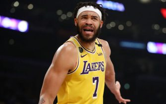 LOS ANGELES, CALIFORNIA - MARCH 03: JaVale McGee #7 of the Los Angeles Lakers reacts to a play against the Philadelphia 76ers during the first half at Staples Center on March 03, 2020 in Los Angeles, California. NOTE TO USER: User expressly acknowledges and agrees that, by downloading and or using this Photograph, user is consenting to the terms and conditions of the Getty Images License Agreement. (Photo by Katelyn Mulcahy/Getty Images)