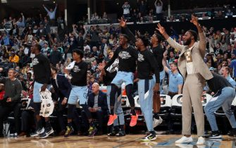 MEMPHIS, TN - FEBRUARY 29: The Memphis Grizzlies bench reacts to a play during the game against the Los Angeles Lakers on February 29, 2020 at FedExForum in Memphis, Tennessee. NOTE TO USER: User expressly acknowledges and agrees that, by downloading and or using this photograph, User is consenting to the terms and conditions of the Getty Images License Agreement. Mandatory Copyright Notice: Copyright 2020 NBAE (Photo by Joe Murphy/NBAE via Getty Images)