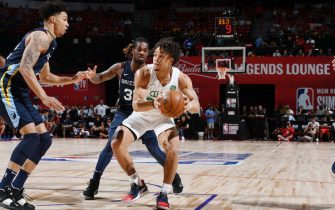 LAS VEGAS, NV - JULY 13: Carsen Edwards #29 of the Boston Celtics  drives to the basket against the Memphis Grizzlies on July 13, 2019 at the Thomas & Mack Center in Las Vegas, Nevada. NOTE TO USER: User expressly acknowledges and agrees that, by downloading and/or using this Photograph, user is consenting to the terms and conditions of the Getty Images License Agreement. Mandatory Copyright Notice: Copyright 2019 NBAE (Photo by Garrett Ellwood/NBAE via Getty Images)