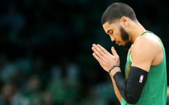 BOSTON, MASSACHUSETTS - DECEMBER 06: Jayson Tatum #0 of the Boston Celtics prays before the game against the Denver Nuggets at TD Garden on December 06, 2019 in Boston, Massachusetts. (Photo by Maddie Meyer/Getty Images)