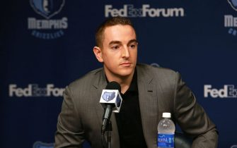 MEMPHIS, TN - AUGUST 1: Robert J. Pera of the Memphis Grizzlies addresses the media during a press conference introducing front office additions on August 1, 2014 at FedEx Forum in Memphis, Tennessee. NOTE TO USER: User expressly acknowledges and agrees that, by downloading and or using this photograph, user is consenting to the terms and conditions of the Getty Images License Agreement. Mandatory Copyright Notice: Copyright 2014 NBAE (Photo by Joe Murphy/NBAE via Getty Images)