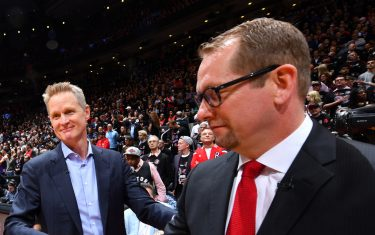 TORONTO, CANADA - MAY 30: Steve Kerr of the Golden State Warriors and Nick Nurse of the Toronto Raptors shake hands prior to Game One of the NBA Finals on May 30, 2019 at Scotiabank Arena in Toronto, Ontario, Canada. NOTE TO USER: User expressly acknowledges and agrees that, by downloading and/or using this photograph, user is consenting to the terms and conditions of the Getty Images License Agreement. Mandatory Copyright Notice: Copyright 2019 NBAE (Photo by Jesse D. Garrabrant/NBAE via Getty Images)