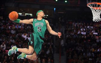 Las Vegas, UNITED STATES: Gerald Green of the Boston Celtics jumps to win the slam dunk contest of the NBA All Star Game, 17 February 2007, in Las Vegas, Nevada. AFP PHOTO / GABRIEL BOUYS (Photo credit should read GABRIEL BOUYS/AFP via Getty Images)