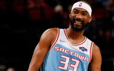 PORTLAND, OR - APRIL 10: Corey Brewer #33 of the Sacramento Kings smiles during the game against the Portland Trail Blazers on April 10, 2019 at the Moda Center Arena in Portland, Oregon. NOTE TO USER: User expressly acknowledges and agrees that, by downloading and or using this photograph, user is consenting to the terms and conditions of the Getty Images License Agreement. Mandatory Copyright Notice: Copyright 2019 NBAE (Photo by Cameron Browne/NBAE via Getty Images)