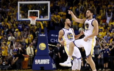 OAKLAND, CALIFORNIA - MAY 08:   Stephen Curry #30 of the Golden State Warriors celebrates with Klay Thompson #11 after Thompson made the clinching basket with four second left of their game against the Houston Rockets in Game Five of the Western Conference Semifinals of the 2019 NBA Playoffs at ORACLE Arena on May 08, 2019 in Oakland, California.  NOTE TO USER: User expressly acknowledges and agrees that, by downloading and or using this photograph, User is consenting to the terms and conditions of the Getty Images License Agreement.  (Photo by Ezra Shaw/Getty Images)
