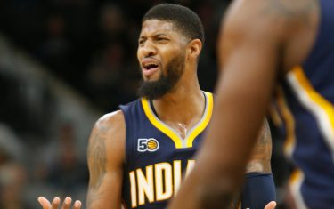 SAN ANTONIO,TX - MARCH 1: Paul George #13 of the Indiana Pacers reacts during action against the San Antonio Spurs at AT&T Center on March 1, 2017 in San Antonio, Texas.  NOTE TO USER: User expressly acknowledges and agrees that , by downloading and or using this photograph, User is consenting to the terms and conditions of the Getty Images License Agreement. (Photo by Ronald Cortes/Getty Images)