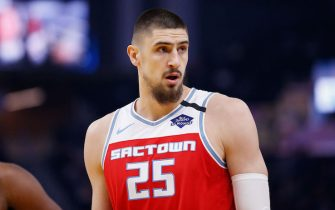 SAN FRANCISCO, CALIFORNIA - FEBRUARY 25: Alex Len #25 of the Sacramento Kings looks on in the first half against the Golden State Warriors at Chase Center on February 25, 2020 in San Francisco, California. NOTE TO USER: User expressly acknowledges and agrees that, by downloading and/or using this photograph, user is consenting to the terms and conditions of the Getty Images License Agreement. (Photo by Lachlan Cunningham/Getty Images)