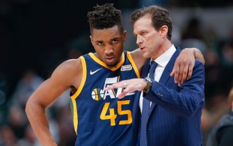 INDIANAPOLIS, IN - MARCH 07: Donovan Mitchell #45 of the Utah Jazz talks with Quin Snyder of the Utah Jazz during a break in action against the Indiana Pacers at Bankers Life Fieldhouse on March 7, 2018 in Indianapolis, Indiana. NOTE TO USER: User expressly acknowledges and agrees that, by downloading and or using this photograph, User is consenting to the terms and conditions of the Getty Images License Agreement.(Photo by Michael Hickey/Getty Images)