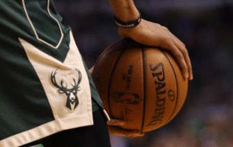 BOSTON, MA - APRIL 28: A detail of Giannis Antetokounmpo #34 of the Milwaukee Bucks' hands during the first quarter of Game Seven in Round One of the 2018 NBA Playoffs at TD Garden on April 28, 2018 in Boston, Massachusetts. (Photo by Maddie Meyer/Getty Images)