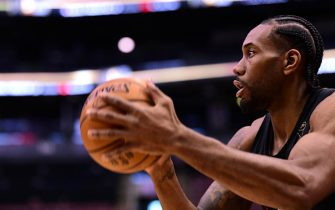 TORONTO, ON -  JUNE 1: Kawhi Leonard of the Toronto Raptors shoots during practice and media availability as part of the 2019 NBA Finals on June 01, 2019 at Scotiabank Arena in Toronto, Ontario, Canada. NOTE TO USER: User expressly acknowledges and agrees that, by downloading and or using this photograph, User is consenting to the terms and conditions of the Getty Images License Agreement. Mandatory Copyright Notice: Copyright 2019 NBAE (Photo by Noah Graham/NBAE via Getty Images)