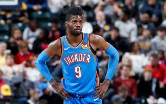 INDIANAPOLIS, IN - NOVEMBER 12: Nerlens Noel #9 of the Oklahoma City Thunder looks on against the Indiana Pacers during a game at Bankers Life Fieldhouse on November 12, 2019 in Indianapolis, Indiana. The Pacers defeated the Thunder 111-85. NOTE TO USER: User expressly acknowledges and agrees that, by downloading and or using this Photograph, user is consenting to the terms and conditions of the Getty Images License Agreement. (Photo by Joe Robbins/Getty Images)