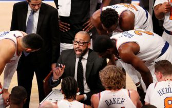 NEW YORK, NY - OCTOBER 20: Head coach David Fizdale of the New York Knicks talks with his team during a timeout in an NBA basketball game against the Boston Celtics on October 20, 2018 at Madison Square Garden Center in New York City. Celtics won 103-101. NOTE TO USER: User expressly acknowledges and agrees that, by downloading and/or using this Photograph, user is consenting to the terms and conditions of the Getty License agreement. Mandatory Copyright Notice (Photo by Paul Bereswill/Getty Images)