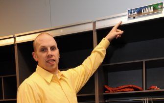 ARLINGTON, TX - FEBRUARY 14: Chris Kaman of the Western Conference All-Stars points to his locker prior to the 2010 NBA All-Star Game on February 14, 2010 at Cowboys Stadium in Arlington, Texas. NOTE TO USER: User expressly acknowledges and agrees that, by downloading and/or using this Photograph, user is consenting to the terms and conditions of the Getty Images License Agreement. Mandatory Copyright Notice: Copyright 2010 NBAE (Photo by Andrew D. Bernstein/NBAE via Getty Images).