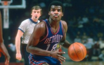 LANDOVER, MD - CIRCA 1975: Curtis Rowe #18 of the Detroit Pistons looks to shoot against the Washington Bullets during an NBA basketball game circa 1975 at the Capital Centre in Landover, Maryland. Rowe played for the Pistons from 1971-76. (Photo by Focus on Sport/Getty Images) *** Local Caption *** Curtis Rowe