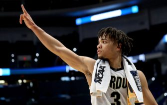 HARTFORD, CONNECTICUT - MARCH 23:  Carsen Edwards #3 of the Purdue Boilermakers waves to the fans after his teams win over the Villanova Wildcats during the second round of the 2019 NCAA Men's Basketball Tournament at XL Center on March 23, 2019 in Hartford, Connecticut. (Photo by Maddie Meyer/Getty Images)