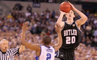 of the Butler Bulldogs of the Duke Blue Devils during the 2010 NCAA Division I Men's Basketball National Championship game at Lucas Oil Stadium on April 5, 2010 in Indianapolis, Indiana.