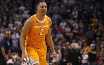 PHOENIX, ARIZONA - DECEMBER 09:  Grant Williams #2 of the Tennessee Volunteers reacts after defeating the Gonzaga Bulldogs in the game at Talking Stick Resort Arena on December 9, 2018 in Phoenix, Arizona.  The Volunteers defeated the  Bulldogs 76-73. (Photo by Christian Petersen/Getty Images)