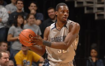 WASHINGTON - FEBRUARY 24:  Jeff Green #32 of the Georgetown Hoyas looks to pass the ball during a college basketball game against the Pittsburgh Panthers at Verizon Center on February 24, 2007 in Washington D.C.  (Photo by Mitchell Layton/Getty Images)