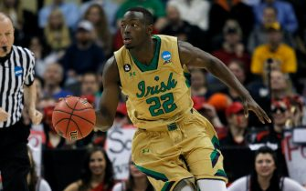 PITTSBURGH, PA - MARCH 19:  Jerian Grant #22 of the Notre Dame Fighting Irish plays against the Northeastern Huskies during the second round of the 2015 NCAA Men's Basketball Tournament at Consol Energy Center on March 19, 2015 in Pittsburgh, Pennsylvania.  (Photo by Justin K. Aller/Getty Images)