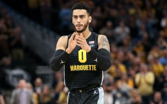MILWAUKEE, WISCONSIN - JANUARY 04: Markus Howard #0 of the Marquette Golden Eagles reacts in the first half against the Villanova Wildcats at the Fiserv Forum on January 04, 2020 in Milwaukee, Wisconsin. (Photo by Dylan Buell/Getty Images)