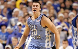 LEXINGTON, KY - DECEMBER 03:  Tyler Hansbrough #50 of the North Carolina Tar Heels celebrates after making a basket against the Kentucky Wildcats on December 3, 2005 at Rupp Arena in Lexington, Kentucky. North Carolina defeated Kentucky 83-79.  (Photo by Andy Lyons/Getty Images)