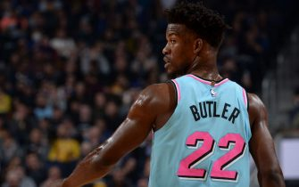 SAN FRANCISCO, CA - FEBRUARY 10: Jimmy Butler #22 of the Miami Heat looks on during the game against the Golden State Warriors on February 10, 2020 at Chase Center in San Francisco, California. NOTE TO USER: User expressly acknowledges and agrees that, by downloading and or using this photograph, user is consenting to the terms and conditions of Getty Images License Agreement. Mandatory Copyright Notice: Copyright 2020 NBAE (Photo by Noah Graham/NBAE via Getty Images)
