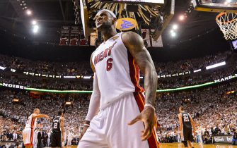 MIAMI, FL - JUNE 20: LeBron James #6 of the Miami Heat celebrates while playing the San Antonio Spurs during Game Seven of the 2013 NBA Finals on June 20, 2013 at American Airlines Arena in Miami, Florida. NOTE TO USER: User expressly acknowledges and agrees that, by downloading and or using this photograph, User is consenting to the terms and conditions of the Getty Images License Agreement. Mandatory Copyright Notice: Copyright 2013 NBAE (Photo by Jesse D. Garrabrant/NBAE via Getty Images)