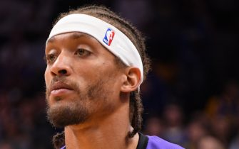 SAN JOSE, CA - OCTOBER 12: A close up shot of Michael Beasley #11 of the Los Angeles Lakers before a pre-season game against the Golden State Warriors on October 12, 2018 at the SAP Center in San Jose, California. NOTE TO USER: User expressly acknowledges and agrees that, by downloading and/or using this Photograph, user is consenting to the terms and conditions of the Getty Images License Agreement. Mandatory Copyright Notice: Copyright 2018 NBAE (Photo by Andrew D. Bernstein/NBAE via Getty Images)