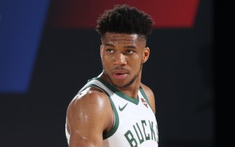 ORLANDO, FL - JULY 23: Giannis Antetokounmpo #34 of the Milwaukee Bucks looks on during the game on July 23, 2020 at the Visa Athletic Center at ESPN Wide World of Sports Complex in Orlando, Florida. NOTE TO USER: User expressly acknowledges and agrees that, by downloading and or using this photograph, User is consenting to the terms and conditions of the Getty Images License Agreement. Mandatory Copyright Notice: Copyright 2020 NBAE (Photo by David Sherman/NBAE via Getty Images)