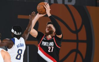 Orlando, FL - JULY 23: Jusuf Nurkic #27 of the Portland Trail Blazers shoots the ball against the Indiana Pacers during a scrimmage on July 23, 2020 at HP Field House at ESPN Wide World of Sports in Orlando, Florida. NOTE TO USER: User expressly acknowledges and agrees that, by downloading and/or using this Photograph, user is consenting to the terms and conditions of the Getty Images License Agreement. Mandatory Copyright Notice: Copyright 2020 NBAE (Photo by Garrett Ellwood/NBAE via Getty Images)